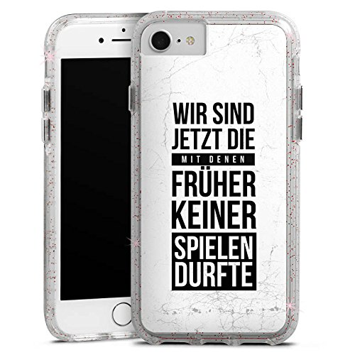 DeinDesign Apple iPhone 7 Bumper Hülle Bumper Case Glitzer Hülle Humor Fun Sayings