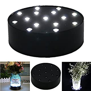 Acmee 4 Inch Round Super Bright LED Plate Light, Display Light base for Crystals, 15 LED Vase Base Light with Black Case for Wedding Table
