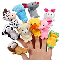ThinkMax Finger Puppets,10 Pcs Soft Plush Animals Finger Puppets Set for Kids