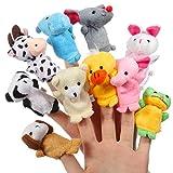 Thinkmax Fingerpuppen, SAMT Baby Story Zeit Requisiten, weiche pädagogische Handpuppe Set Puppen Spielzeug für Baby und Kleinkinder (10 Stück Tiere)