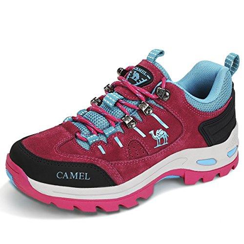 CAMEL CROWN Chaussures de Marche Femmes Chaussures de randonnée Chaussures d'escalade en Daim, Chaussures Basses Glissement sur Trekking Chaussures de sécurité pour l'extérieur, Runing, Camping