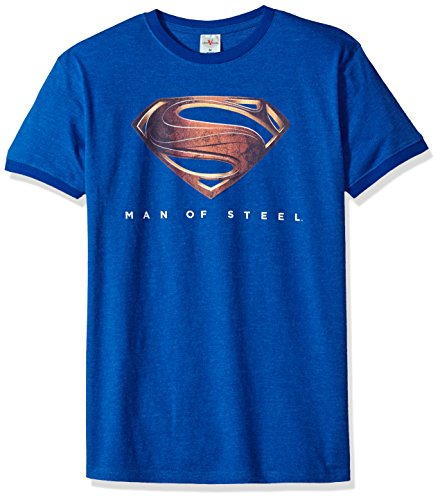 Mens Heather Ringer T-shirt (Trevco Herren Superman Man of Steel New Logo Ringer T-Shirt, Heather/Royal, Groß)