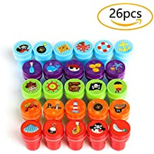 Kesoto Conjunto de Sellos para Niños Estilo Pirata Sellos Plásticos Multicolores Auto Entintado Perfecto para Bricolaje (juego de 26 piezas)