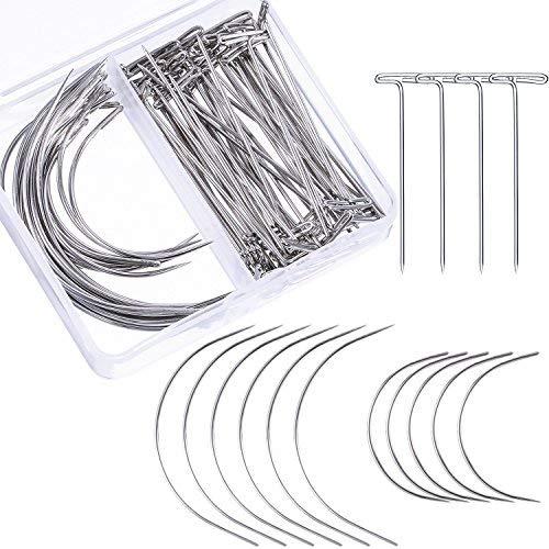 Bememo 70 Stücke Perücke Making Pins Nadeln Set, Perücke T Pins und C Gebogene Nadeln Haar Weben Nadeln für Perücke Handwerk, Blockieren Stricken, Modellierung und Handwerk -