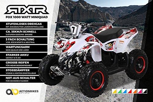 Kinder Elektro Miniquad Fox XTR 1000 Watt Weißer Body (Weiß/Rot)