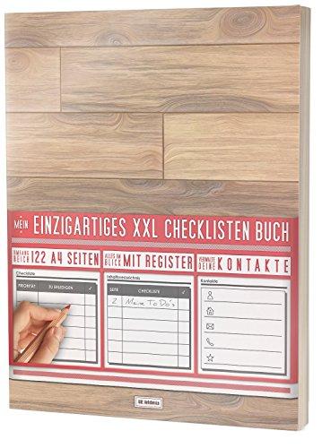 """Mein Einzigartiges XXL Checklistenbuch: 122 A4-Seiten, Softcover, Register uvm. / Für To Do\'s und Listen / PR501 """"Laminat"""""""