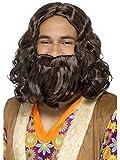Smiffys Déguisement Homme, Kit Perruque et Barbe Hippie/Jésus, avec Perruque et Barbe, 0, Couleur: Brun, 43069