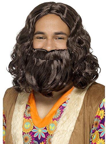 Smiffys, Herren Hippie Jesus Set, Bart und Perücke, One Size, Braun, (Mit Perücke Bart Jesus)