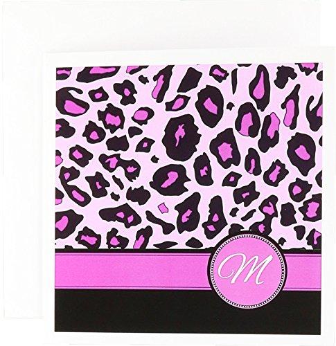M Monogramm Hot Pink und Schwarz Leopard Muster Print-Grußkarten, 15,2x 15,2cm, Set 6(GC 154414_ 1) - Pink Hot Einladungen Geburtstag