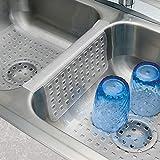 mDesign 3er-Set Spülbeckeneinlage – Kombi-Paket aus 2 Abtropfmatten und Waschbeckenaufsatz für die Trennwand zur Vermeidung von Kratzern – Schutzmatten aus PVC-Kunststoff – durchsichtig