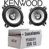 Peugeot 206 CC Heck - Lautsprecher Boxen Kenwood KFC-S1056-10cm Koax Auto Einbauzubehör - Einbauset