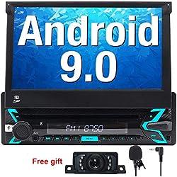 """FOIIOE Android 9.0 Autoradio 1 DIN pour Voiture Compatible GPS Navigateur, DVD, Bluetooth, Subwoofer, Mirror-Link, Commande au Volant, WiFi, USB, SD, avec écran Tactile 7"""""""