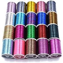 20 bobinas de varios colores de hilo de enjuague para hacer moscas y atar materiales