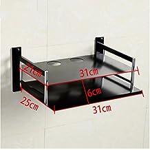 Single y Doble capa de aluminio espacio rack sintonizadores de TV El Router Soporte de pared estantería,Negro Rack Doble sintonizador