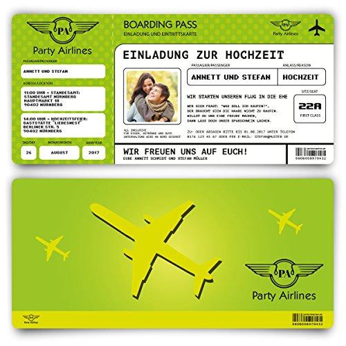 Preisvergleich Produktbild Einladungskarten zur Hochzeit (60 Stück) Flugticket mit Foto Einladung in Grün