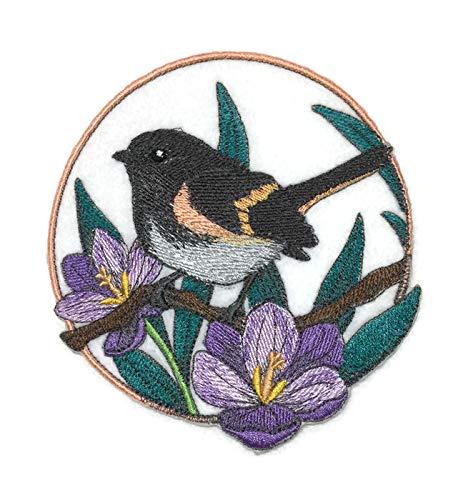 BeyondVision Erstaunlich Vögel Reich bestickte Eisen Nähen Patches 5 x5 grau, schwarz, weiß, grün, (Mockingbird Patch)