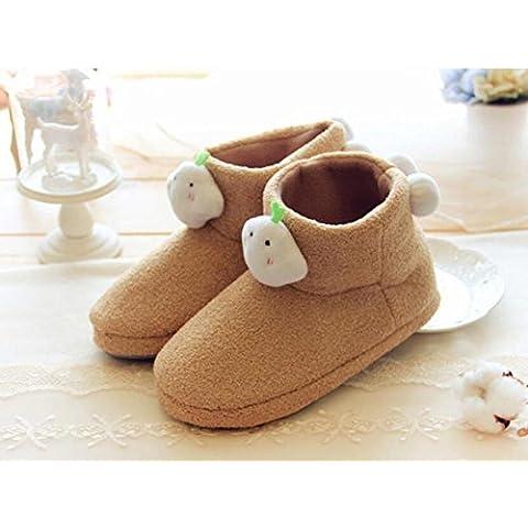 ZZHH Zapatillas Más resbalones de lana impermeable botas de invierno cálido . khaki . 36-37