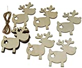 10x Weihnachtsanhänger aus Holz Rentier Christbaumschmuck Baumbehang