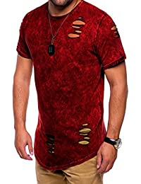 MT Styles Oversize style destroyed T-Shirt homme C-9083 [rouge, XL]
