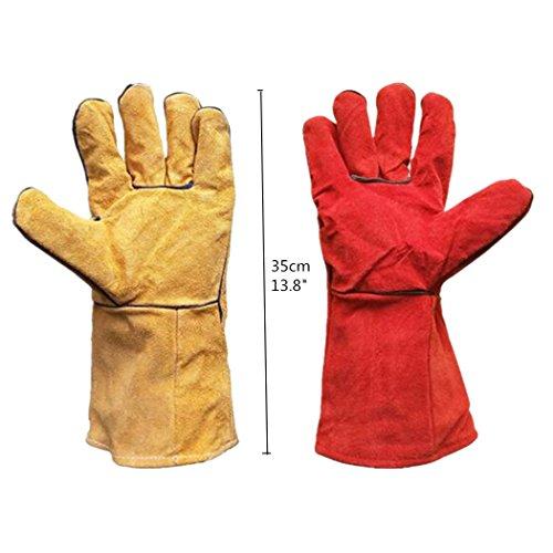 Isolierte Arbeitshandschuhe beim Schweißen Handschuhe Ofenfeste Leder Handschuhe mit Lint Futter One Paar, rot (Leder-arbeits-handschuhe Isolierte)