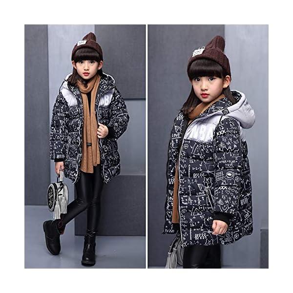 SXSHUN Niñas Abrigo Impermeable para Nieve Anorak Acolchado Padding Chaqueta de Algodón con Capucha Estampado 5