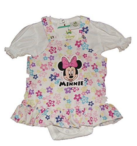 Disney Baby Mädchen Minnie Mouse Kleid mit Body Weiß Gr 56 62 68 74 80 86 Blumenmuster 100% Baumwolle Outfit Set Sommerkleid für Neugeborene 0-6 Monate 1 Jahr Größe 56 (Baby-sachen-mini-maus)