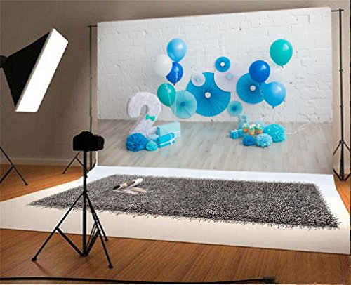 YongFoto 15x1m Photography Backdrop Happy 2nd Birthday Decor Paper Flower Balloons Backdrops For Photo Shoots Party Newborn Kids Baby Personal