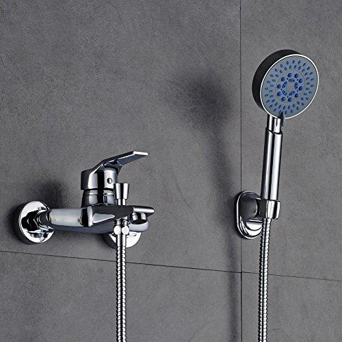 Auralum Einhand-Wannenbatterie Armatur Wasserfall Badewanne Wasserhahn,mit Brausegarnitur Wannenarmatur Chrom (Badewanne Wasserfall Wasserhahn)