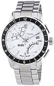 Timex Intelligent Quartz Men's Luxuary Flyback Chronograph Watch with White Dial Chronograph Display and Silver Stainless Steel - T2N499
