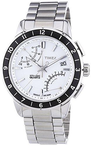 Timex T2N499AU – Reloj analógico de caballero de cuarzo con correa de acero inoxidable plateada