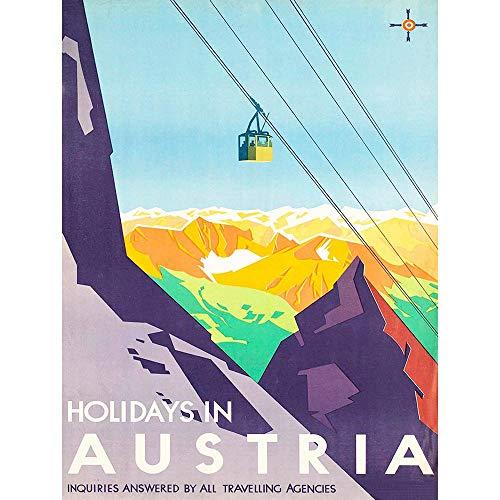 Wee Blue Coo LTD Travel Tourism Austria Winter Sport Ski Lift Mountain View Alpine Snow Peak Art Print Poster Decor -