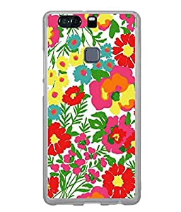 Fuson Designer Back Case Cover for Huawei P9 Plus (Flowers Red Flowers Pink Flowers Green Leaves Yellow Flowers)