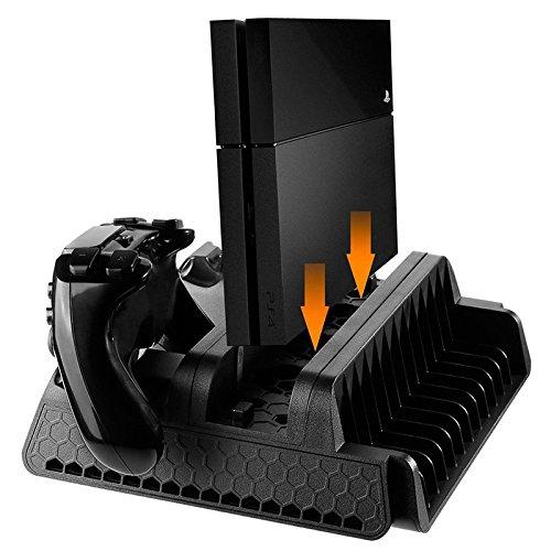 Elegantstunning verticale supporto con ventola di raffreddamento e controller dual stazione di ricarica per ps4/ps3slim/ps4pro