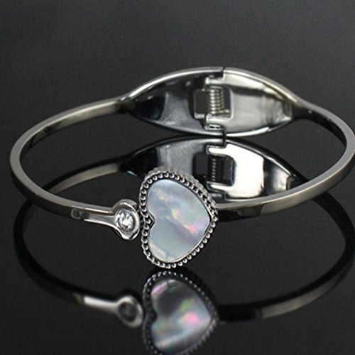 Pêche en forme de cœur zircone cubique incrustation Titane Bracelet jonc en acier inoxydable pour femme Argenté