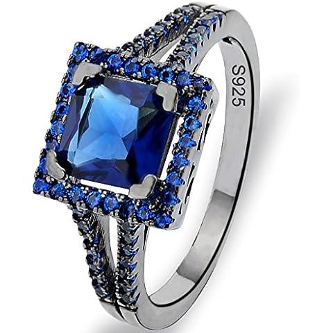 EVER FAITH® Nero Argento 925 principessa Cut Sapphire colori .25ct CZ Cocktail Ring