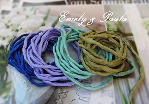 1 Seidenband Habotai Farbwahl Seidenkette für Ketten und Armbänder Khaki mint Lavendel blau Festival Hippie -