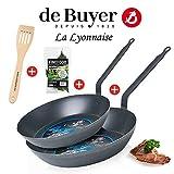 de Buyer - La Lyonnaise - Bratpfanne 26 & 30 cm + Wender + Gewürz-Lorbeer