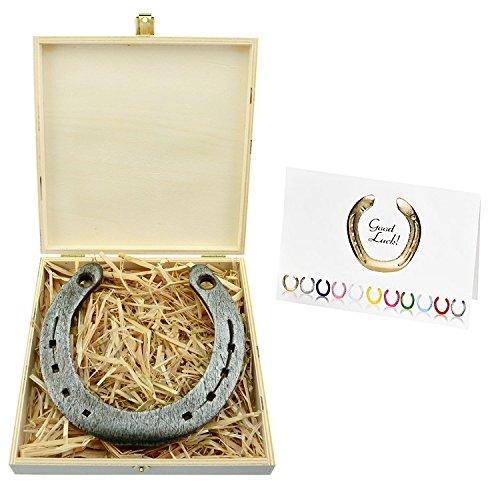 Hufeisen (4you Design Hufeisen-Box mit Motiv Viel Glück im neuen Zuhause pink Einzug Glücksgeschenk Geschenkidee Glücksbringer)