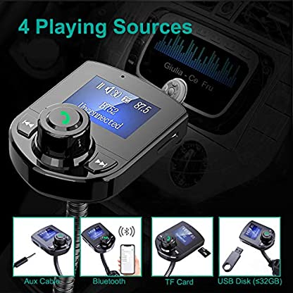 FM-Transmitter-Auto-Bluetooth-Auto-Radio-Transmitter-Adapter-mit-144FarbbildschirmHandsfrei-AnrufenDual-USB-LadegertU-DiskTF-KarteAux