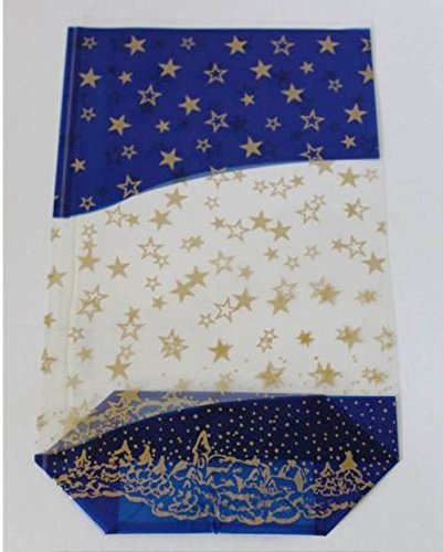 100 Bodenbeutel blau Sterne Gold 145 x 235 mm PP Beutel Weihnachten Weihnachtsbeutel Keksbeutel Kekstüten Gebäcktüten Gebäckbeutel Klarsichtbeutel Folienbeutel Tüten Zellglasbeutel Zellglastüten