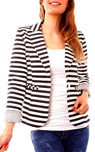 Damen Sweat Jersey Blazer Jacke Sweatblazer Jerseyblazer Sakko Kurz Gefüttert 3/4 Arm Gestreift Streifen-Muster Schwarz Weiß Quer XS 34 (S)