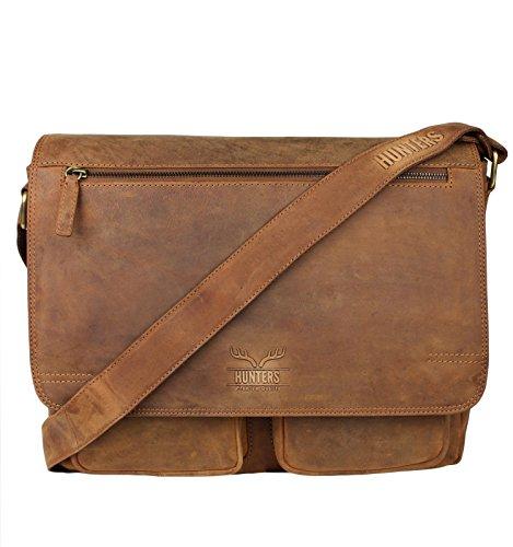 Schompi Herren Vintage Messenger Bag/Unisex Aktentasche Umhängetasche aus Echtem Leder, Braun, ca. 38 x 16 x 30 cm, Farbe:Tan -