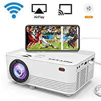 [WIFI Projector] POYANK 2000 Lumen LCD Projector, Wireless and Wired Connection with Smartphone Tablet Laptop, Supports 1080P, HDMI VGA USB TF AV and Headphone Interface, with HDMI and AV Cable.