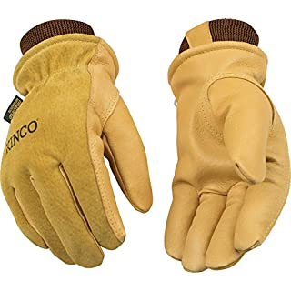 Kinco 94HK-L-1 Premium grain & suede pigskin, Snug 100% polyester knit wrist to retain warmth, Ergonomic keystone thumb, Heatkeep lining, Size: L
