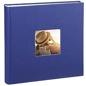 Hama Jumbo Fotoalbum Fine Art (30 x 30 cm, 100 Seiten in weiß, 50 Blatt, Fotobuch mit Ausschnitt für Bildeinschub) Album blau