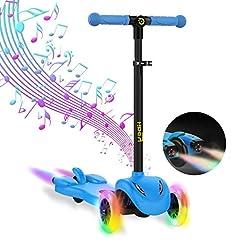 Idea Regalo - Hiboy Monopattino 3 Ruote per Bambini +3 Anni, con potenti luci a LED, Musica e Vapore Acqueo Colorato,Ideale Come Regalo di Compleanno(Blu)