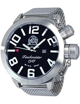 XXL Retro Taucher Uhr mit Alarm Funktion Milanaise Band T0225MIL