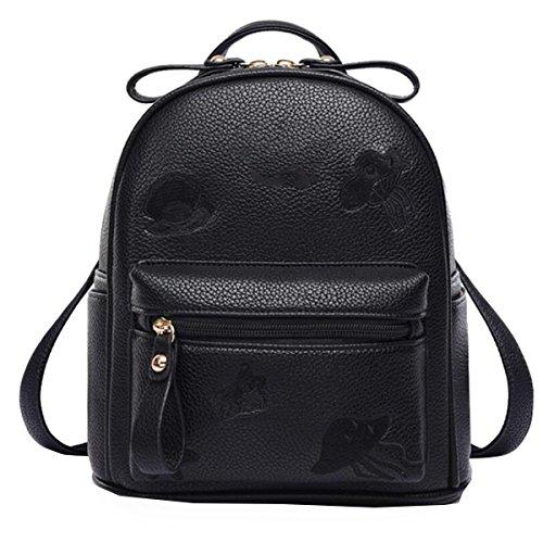 WU Zhi Dame Umhängetasche Mini Rucksack Reise Schultasche Black
