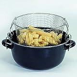 Induktion Kochtopf für Pommes-Frites Siebeinsatz Frittieren Töpfe (Kapazität ca. 4,0 Liter + Chromrand)