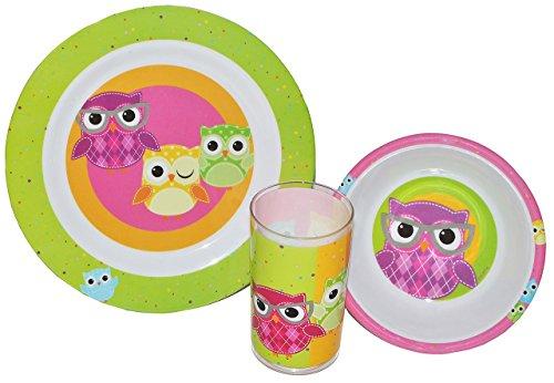 3 tlg. Geschirrset Eule - Melamin Trinkbecher + Teller + Müslischale - Kindergeschirr Frühstücksset Eulen für Jungen Mädchen / Eulen auf Ast sitzend Herzen Tiere